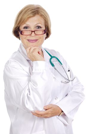 Female doctor thinking a over white background photo