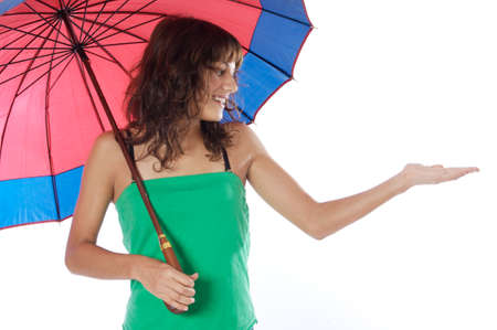 attractive woman whit umbrella a over white background photo