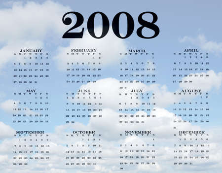 weeks: 2008 Calendar with a pretty cloud bottom Stock Photo