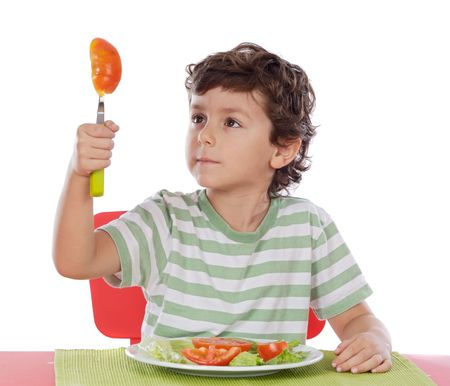 alimentacion equilibrada: Ni�o sano comer una dieta equilibrada m�s de fondo withe