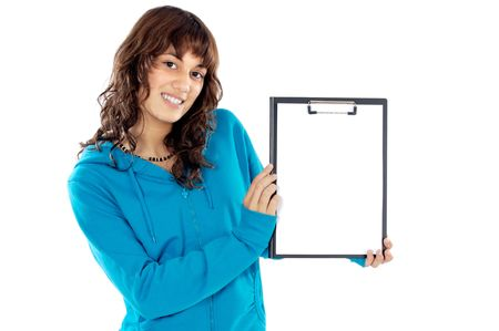 whit: casual teen whit clipboard  a over white background