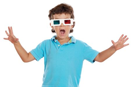 aghast: child whit 3d glasses a over white background