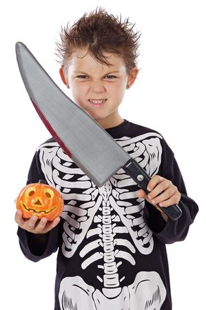 menacing: Adorable boy in halloween a over white background