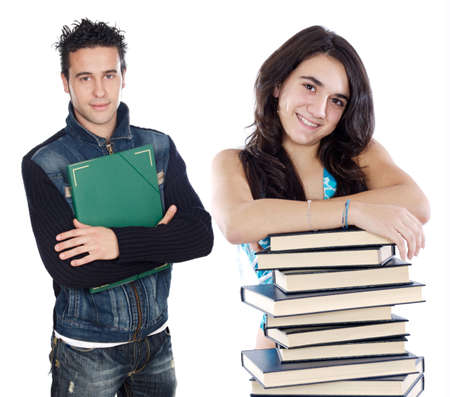 Two young students a over white background Stock Photo - 1807571