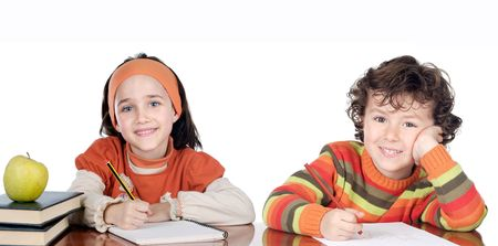 Two brothers students a over white background photo