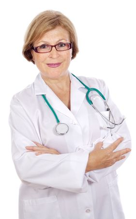 Female doctor in a white medical dressing gown  a over white background photo