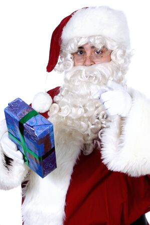 Santa Claus with a gift for you a over white background photo
