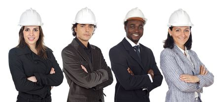 executive helmet: Team of engineers a over white background Stock Photo