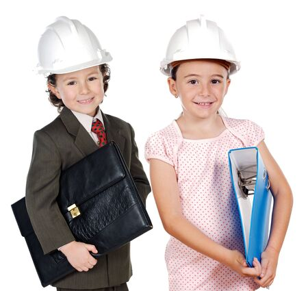 two engineer futures a over white background photo