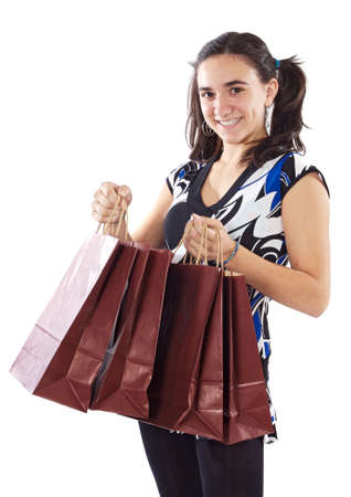 Shopping young girl a over white background photo