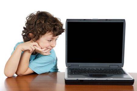 whit: Child whit laptop a over white background