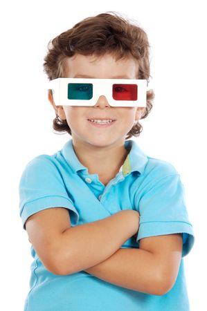 gasp: child whit 3d glasses a over white background