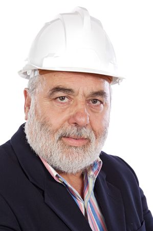 Senior engineer a over white background photo