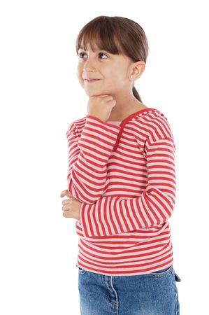chica pensando: Adorable ni�a de pensar m�s de fondo blanco  Foto de archivo