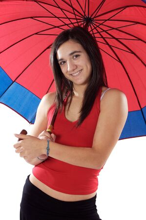 attractive woman whit umbrella over white background photo