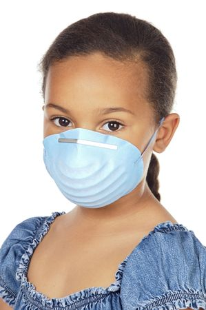 bronchial: A pretty girl with a blue mask