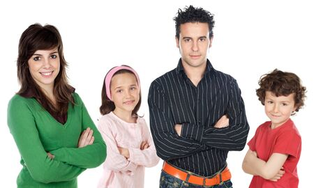 Four people group over a white background photo