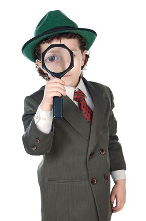 Kid in a suit with a magnifying glass