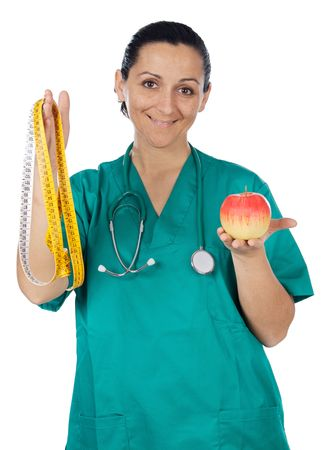 Medial staff with an apple and tape measure photo