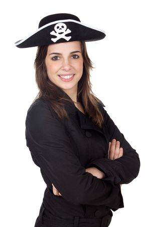 Nice girl with pirate hat over white background photo