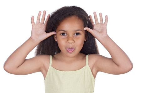 Cute black girl mocking isolated in white photo