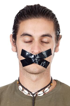 Teenager with his mouth sealed by adhesive tape