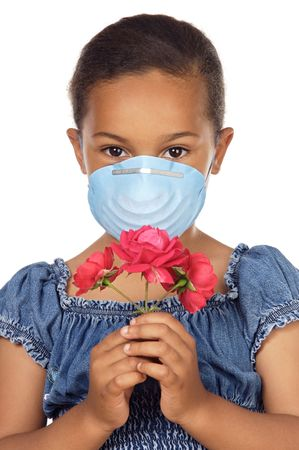 bronchial: Cute girl with mask isolated in white