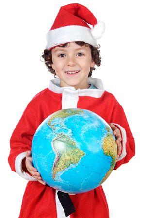 Santa boy with globe isolated on white background photo