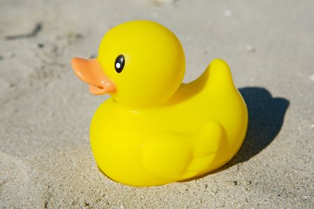 squeak: yellow rubber duck toy in the sand Stock Photo