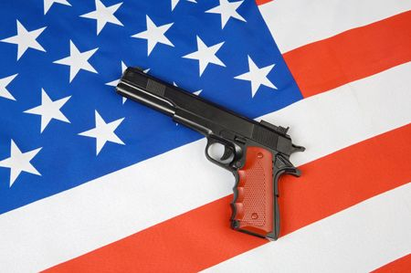 weaponry: Image of American flag and a gun