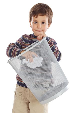 Boy with wastebasket over a white background Stock Photo