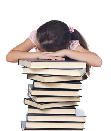 girl asleep on a book pile over white background Stock Photo - 2043476