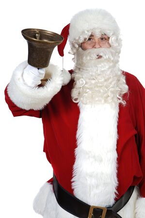 pealing: Santa Claus pealing a bell over white background