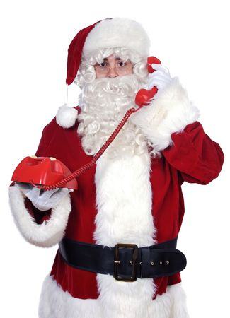 Santa Claus at the phone over white background photo