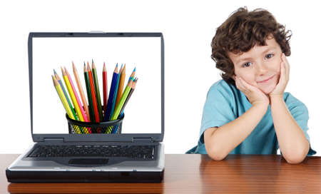 whit: Child whit laptop a over white background whit text (back to school)