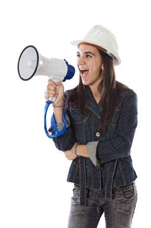 Young girl shouting with megaphone over white background photo