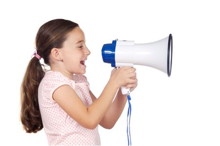 Little girl shouting through megaphone over white background Stock Photo - 2159392