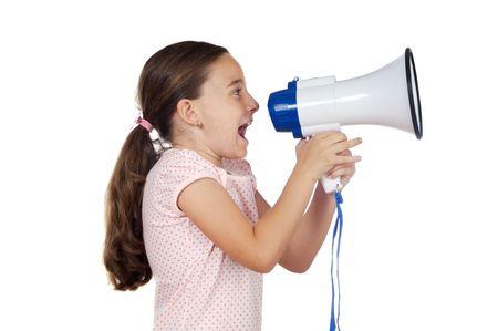 agitation: Little girl shouting through megaphone over white background