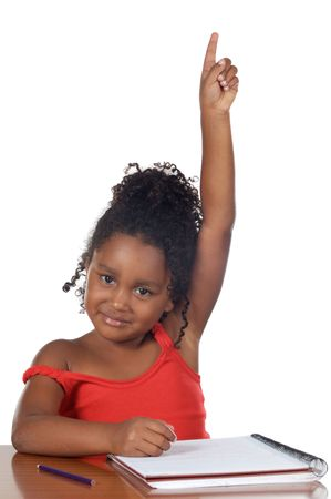 Cute girl with her hand raised at the school Stock Photo