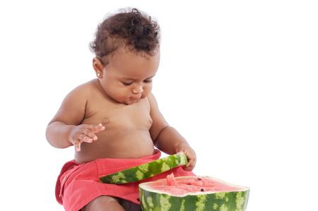 adorable baby eating watermelon a over white background Stock Photo