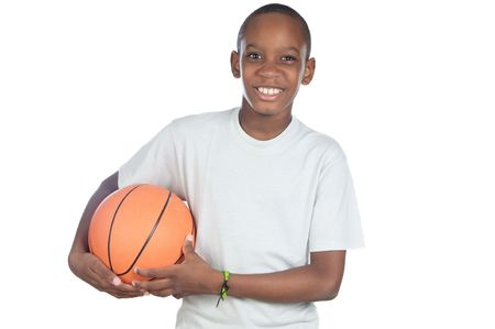 youth sports: boy holding a basketball ball over white background