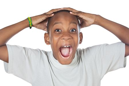 boy shouting madly with his hands over his head Stock Photo - 2214490