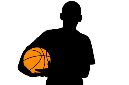Basketball player silhouette with ball isolated on white photo