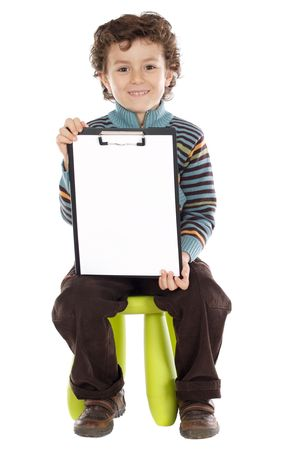 Young boy with clipboard over white background Stock Photo