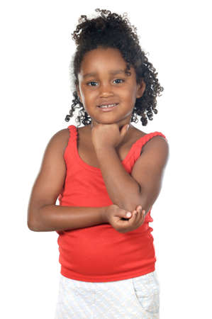 Adorable girl thinking a over white background Stock Photo - 2245645