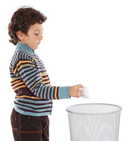 wastebasket: Boy with wastebasket over a white background Stock Photo
