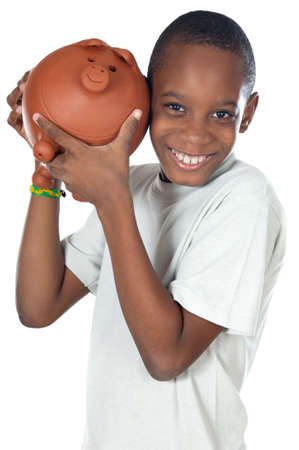 stow: Boy with a money box a over white background