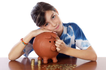 stow: adorable girl putting its savings in your money box