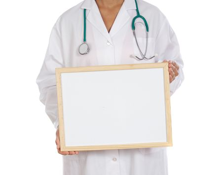 dispense: anonymous doctor whit billboard a over white background