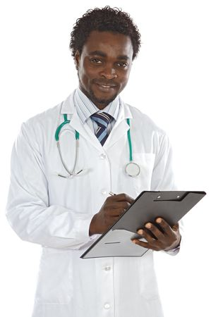 attractive young doctor writing a over white background photo